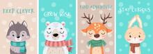 Set Of Cute Little Cartoon Arctic Animals Wearing Scarves