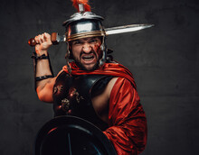 Attacking Roman Soldier Screaming With Sword And Shield