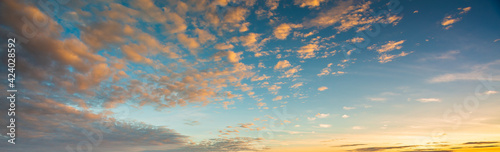 Fototapeta Seamless cloudy blue sky hdri panorama 360 degrees angle view with zenith and beautiful clouds for use in 3d graphics or game development as sky dome or edit drone shot obraz