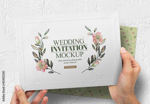 Obraz Wedding Invitation Mockup - fototapety do salonu