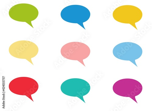 Set of speak bubble text, chatting box, message box outline cartoon illustration design. Balloon doodle style of thinking sign symbol.