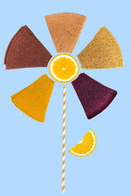 Abstract Flower Made From Pastille And Fruit. Summer Concept
