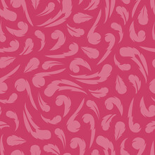 Feather Damask Vector Background Pattern. Dark Pink Abstract Leaf Seamless Illustration.