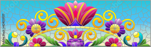 Canvas Illustration in stained glass style with abstract flowers, leaves and curls on a