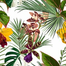 Exotic Flowers Pattern. Tropical Yellow Brown Orchid Flowers And Palm Leaves In Summer Print. Hawaiian T-shirt And Swimwear Tile. White Background.