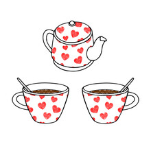 Hand Drawing Outline Vector Illustration Of A Pair Of Cups Of Hot Tea Or Coffee With Teaspoons And A Red Scribble Heart Pattern And A Clay Kettle Isolated On A White Background