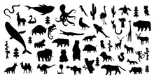 Cute Animal  Illustration Icon Set Isolated On A White Background. Hand Drawn Animals. Icons For Children With Lots Of Animals Bear Elephant Whale Monkey Giraffe. America, Europe, Asia, Africa