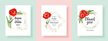 Botanical Wedding Invitation Card Template Design, Red And Pink Poppy Flowers And Leaves. Minimalist Vintage Style. Template Set For Invitation Cards, Wedding, Banners Design
