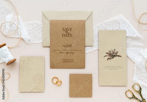 Obraz Flatlay of Wedding Cards Mockup Design - fototapety do salonu