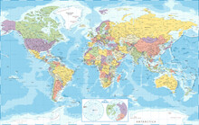 World Map Political And The Poles - Vector Detailed Illustration