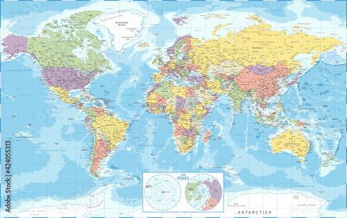 Fotografie, Obraz World Map Political and The Poles - Vector Detailed Illustration
