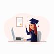 Girl in Square Academic Cap Attending Virtual Graduation Ceremony