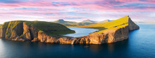 Sorvagsvatn Lake On Cliffs Of Vagar Island In Sunset, Faroe Islands