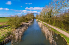 A View Down The Grand Union Canal At Foxton Locks, UK On A Sunny Spring Day