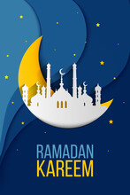 Ramadan Kareem Greeting Card, Background, Illustration With Arabic Lanterns And Calligraphy, On Starry Background With Clouds.