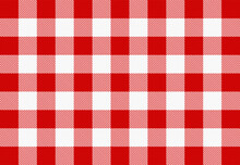 Red And White Checkered Gingham Pattern. Texture For Paper, Plaid, Clothes, Napkin, Shirts, Blankets, Quilts And Other Textile Products