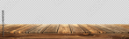 Fotografija Large table top, wooden texture from boards, transparent background - Vector