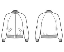 Zip-up Bomber Ma-1 Flight Jacket Technical Fashion Illustration With Rib Collar, Cuffs, Long Raglan Sleeves, Flap Pockets. Flat Coat Template Front, Back White Color. Women Men Unisex Top CAD Mockup