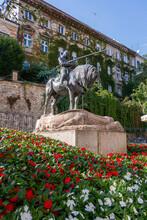St. George And The Dragon Bronze Statue In Zagreb, Croatia