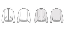 Zip-up Bomber Ma-1 Flight Jacket Technical Fashion Illustration With Rib Baseball Collar, Cuffs, Long Sleeves, Flap Pockets. Flat Template Front, Back White Grey Color. Women Men Unisex Top CAD Mockup