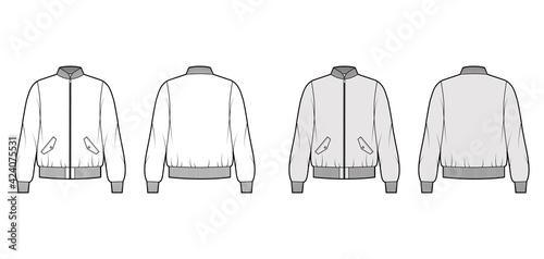 Fotografia, Obraz Zip-up Bomber ma-1 flight jacket technical fashion illustration with Rib baseball collar, cuffs, long sleeves, flap pockets