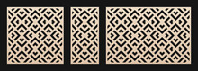 Decorative Panels For Laser Cutting. Cutout Silhouette With Abstract Geometric Pattern, Squares, Triangles, Grid. Laser Cut Stencil For Wood, Metal, Plastic, Paper, Acrylic. Aspect Ratio 1:2, 1:1, 3:2