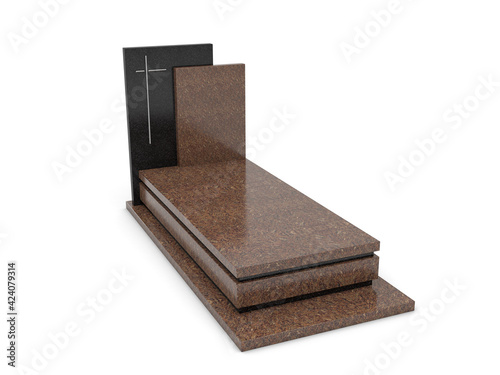 Modern tombstone isolated on white, 3d illustration