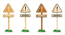 Vector Illustration Set Of A Wooden Road Sign Showing Warning, Logo And Icon, Holiday And Travel Themes, Country, Perfect For Travel Advertising