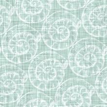 Aegean Teal Tonal Seashell Linen Texture Background. Summer Coastal Living Style 2 Tone Fabric Effect. Sea Green Wash Distressed Grunge Material. Decorative Calm Shell Motif Textile Seamless Pattern