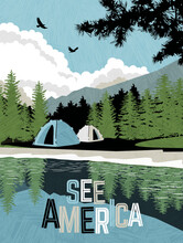 Scenic Landscape With Mountains, Forest And Lake With Camping Tents. Summer Travel Poster Or Sticker Design. Vector Illustration.