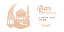 Ramadan Kareem Iftar Invitation Vector Design Template With Gradient Color, Mosque, Moon, Lantern