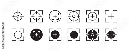 Focus, focal point, target icon set. Vector graphic illustration. Suitable for website design, logo, app, template, and ui.