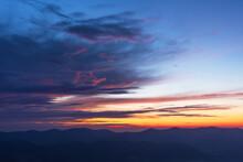 Very Beautiful Dawn In The Ukrainian Carpathian Mountains In Summer.