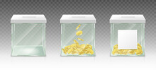 Glass Money Box For Tips, Savings Or Donations Isolated On Transparent Background. Vector Realistic Set Of 3d Clear Acrylic Jar With Gold Coins And White Blank Label For Pension Fund, Charity Donate