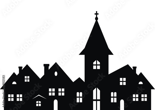 Valokuva Township with church, black silhouette on white background, vector illustration
