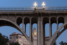 This Image Shows A Juxtaposition At The Blue Hour Of The Colorado Street Bridge And The Richard Chambers Courthouse Building, Two Landmarks In The City Of Pasadena, Los Angeles County.