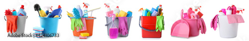 Fotografia Set of cleaning supplies in buckets on white background