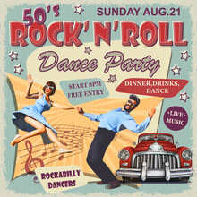 Rock And Roll Dance Party Retro Poster.