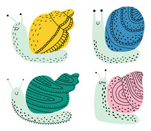 Set Of Snails On An Isolated White Background. An Invertebrate With A Shell. A Creeping Clam With Various Shells. Vector Stock Illustration.