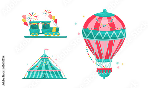 Obraz Amusement Park with Ride Attractions for Entertainment Vector Set - fototapety do salonu