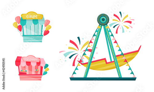 Amusement Park with Ride Attractions for Entertainment Vector Set