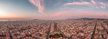 Aerial Panorama Shot Of Barcelona Center Empty Street Before Sunrise At Spain Winter Dusk