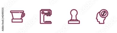 Set line V60 coffee maker, Coffee tamper, machine and Barista icon Fototapet