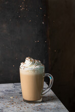 Coffee Latte, Coffee Drink Made With Espresso And Steamed Milk And Decorated With Chocolate. Delicious Drink
