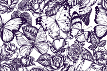 Artistic Seamless Pattern With Menelaus Blue Morpho, Giant Swordtail, Blue Morpho, Forest Mother-of-pearl, Alcides Agathyrsus, Roses
