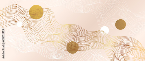 Gold abstract line arts background vector. Luxury wall paper design for prints, wall arts and home decoration, cover and packaging design.