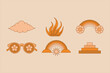 Vector illustration in simple linear style - design templates - hippie style