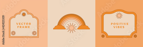 Cuadros en Lienzo Vector illustration in simple linear style - design templates - hippie style