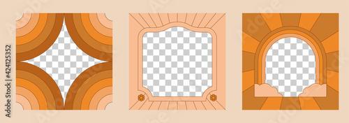 фотография Vector illustration in simple linear style - design templates - hippie style