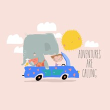 Cute Elephant And Little Girl Traveling In Car
